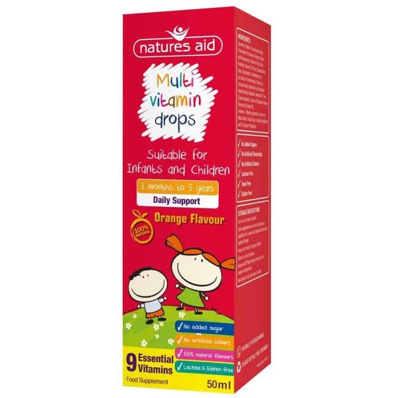 Natures Aid Multi-vitamin Mini Drops για βρέφη και παιδιά 50ml