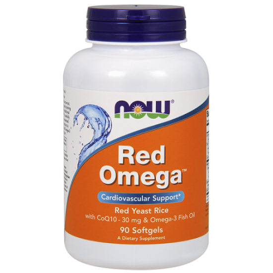 NowFoods® RED OMEGA™ (Salmon Oil 1000 mg, CoQ10 60 mg, Organic Red Yeast Rice) - 90 Softgels
